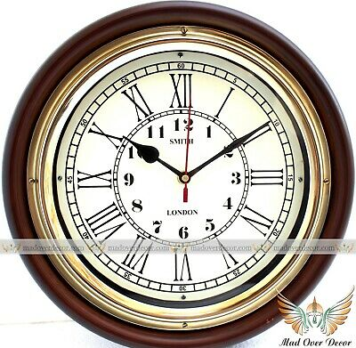 "Vintage Handmade Wood & Brass 12"" Smith London Maritime Antique Style Wall Clock"