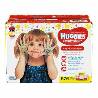 HUGGIES Simply Clean Unscented Baby Wipes Soft Pack, 576 Count