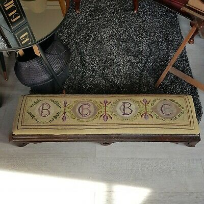 Long Footstool Church Kneeling Bench Needlpoint Upholstery BC