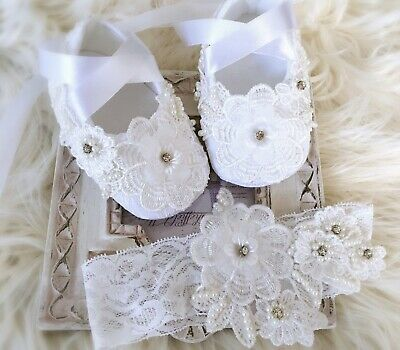 Baby Girl White Christening Baptism Lace Flower Headband Rhinestones Pearls Set