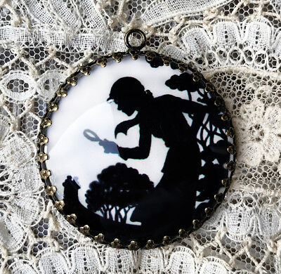 Nancy Drew  ~ XL ROUND 35mm PENDANT Filigree VINTAGE BOOK ILLUSTRATION