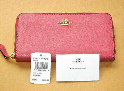 NWT Coach F16612 Pebble Leather Accordion Zip Wallet Rouge Pink $250 New