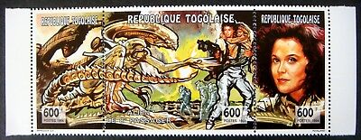 1994 Mnh Togo Alien Stamps Strip 3 Movie Alien Motion Picture Sigourney Weaver