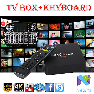 MXQ PRO 4K Quad Core H3 Android 7.1 WIFI HDMI Smart TV Box + Backlit Keyboard I8