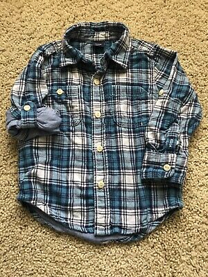 Toddler Boys Baby Gap Plaid/flannel Button Up Shirt 2t