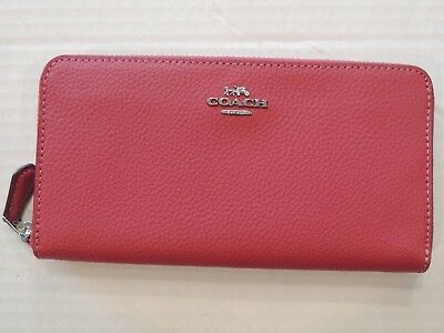 NWT Coach Pebbled Leather Accordion Zip Wallet F16612 Hot Pink w/ gift box