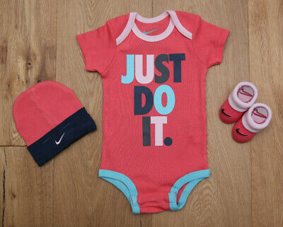 8b6a2c0b3 NIKE BABY GIRL 3 Piece Hat, Bodysuit & Booties Set~Pink, Aqua & Navy ...
