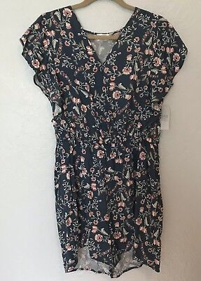 9a22dd14feae Time and Tru Womens Size Large Flutter Sleeve Blue Floral Spring Romper NWT