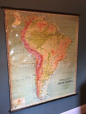 Vintage JOHNSTON Pull Roll Down GEOGRAPHICAL Chart, SCHOOL MAP, South  America.
