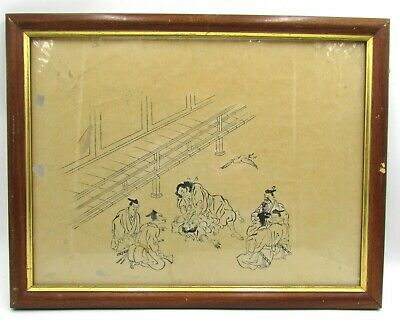 Antique Japanese Samurai Murder Duel Scene Woodblock Print On Thin Rice Paper