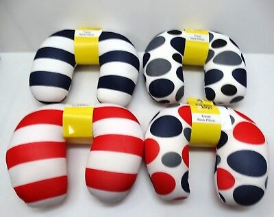 Bargain Buys Travel Neck Pillow- Blue, White, Red, Grey- Polka Dots, Stripes x4