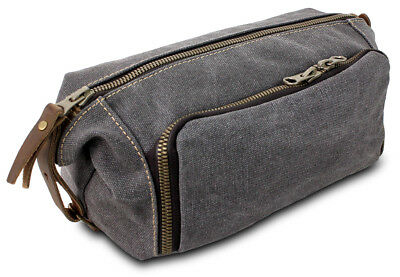 Large Canvas & Leather Toiletry Travel Bag Kit  with YKK Zipper Mens Grey Colour