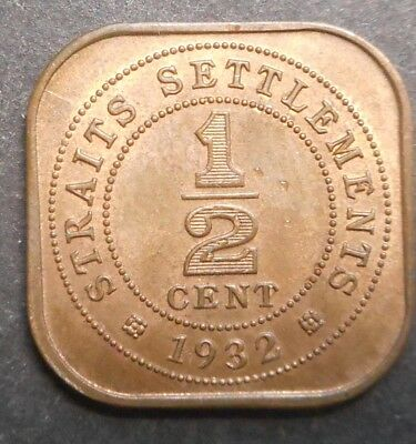 Straits Settlements  1932  George V 1/2  Cent  Nice aUNC Red