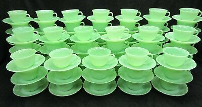 Vintage Fire King Jadite Jadeite Alice cup and saucer Mint   (Many available)