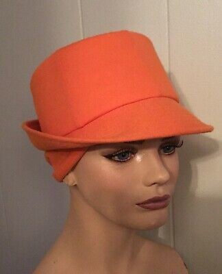 73b8f7d4605 VINTAGE Orange Wool Hat - Happy Cappers - Golf Golfer Cap Sports Sun  Protection