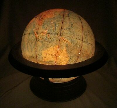 Rare Vintage Time-Life Lighted Replogie World Globe ~Unique Air Travel Time Base