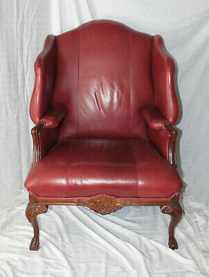 Fabulous Unique High Wingback Burgundy Leather With Dark Ornate Carved Wood Trim