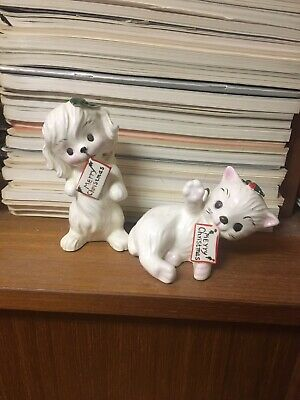 Vintage Porcelain Dog And Cat With Merry Christmas Sign Angel Wings