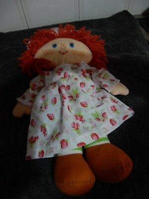 Vintage Strawberry Shortcake Rag Doll with Strawberry Dress by Kenner 1980's