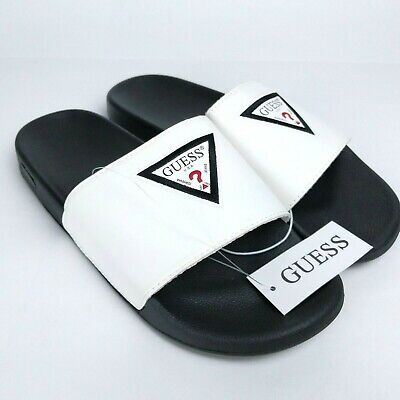 f587a1d7fd8 Guess Isaac - White Logo Slides Sandals - Slip-On Shower Shoes - Mens