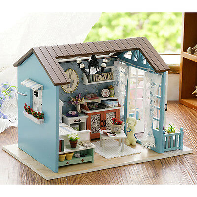 Wood Handicraft Doll House DIY Miniature Kit LED Dollhouse Furniture Toy Gift FN