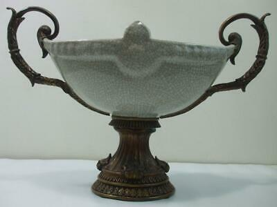 Vintage Large Heavy French Style Center Porcelain Bowl w Bronze Ormolu Mounts