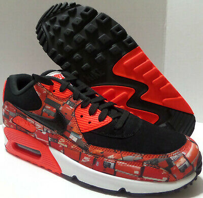 innovative design b0fc5 3e3c1 Nike Air Max 90 Print Atmos We Love Nike Aq0926-001 Black Crimson Mens Size