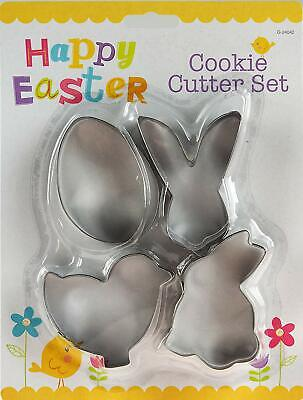 4 x EASTER METAL COOKIE CUTTER Set Rabbit Chick Egg Bunny Biscuit Fondant Cake