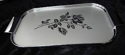 RARE Vintage art deco Ranleigh  rose etched silver drinks serving cocktail tray
