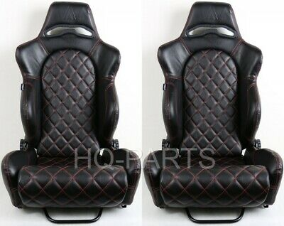 2 X Tanaka Universal Black Pvc Leather Racing Seat Reclinable Red Diamond Stitch