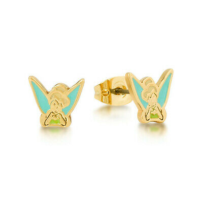 Disney Couture - Tinker Bell Enamel Stud Earrings Yellow Gold Authentic