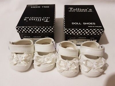 2 PAIRS White Baby Dolls Shoes with white trim 45mm