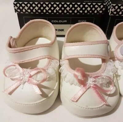 2 PAIRS White Baby Dolls Shoes - 1 x Pink Trim - 1 x Blue Trim 60mm