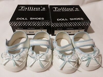 2 PAIRS White Baby Dolls Shoes With Blue Trim - 60mm