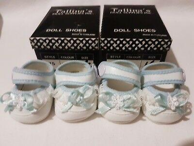 2 PAIRS White Baby Dolls Shoes with blue trim 45mm