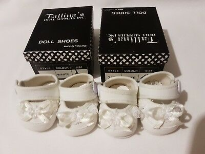 2 PAIRS White Baby Dolls Shoes with white lace and ribbon trim 45mm