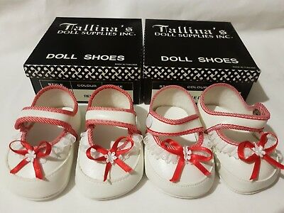 2 PAIRS White Baby Dolls Shoes With Red Trim - 90mm
