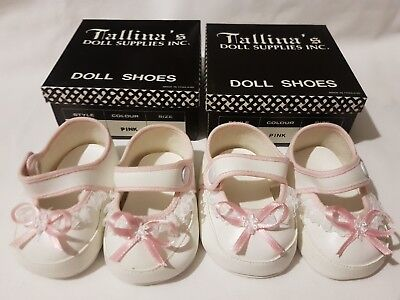 2 PAIRS White Baby Dolls Shoes With Pink Trim - 90mm