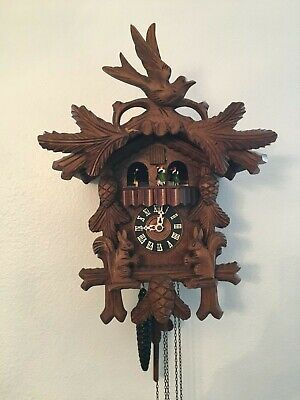 German Black Forest Wood Carved Musical Cuckoo Clock W/ Dancers Moving Squirrels