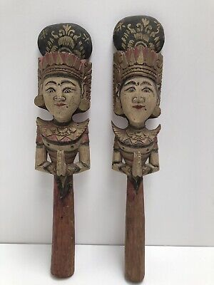 Antique Wayang Bali Art Wooden Figurines Man or Woman on Stick ~ Rice Beater(?)