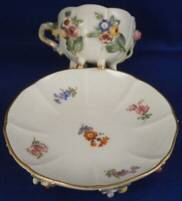 Antique 19thC Meissen Porcelain Applied 3D Flowers Cup & Saucer Porzellan Tasse