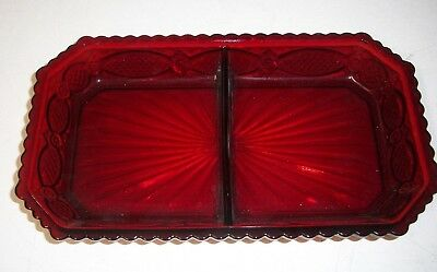 Avon 1876 Cape Cod Collection s Ruby Red Glass divided tray