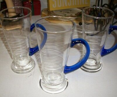 Set of 3 Blue & Clear Glass Vintage Hand Blown Large Glass with Blue Handle