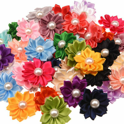 5pcs Mixed Satin Pearl Fabric Flowers Embellishments For Hair Clips Craft DIY