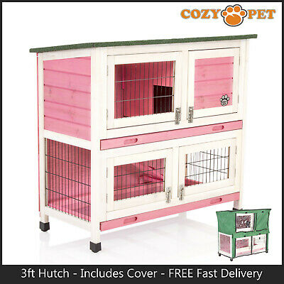 Rabbit Hutch 3ft with Cover by Cozy Pet Pink Guinea Pig Run Ferret Runs RH06