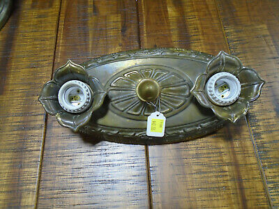 Vintage Tin Double Blub Ceiling Fixture - Nice Condition  ( 11180)