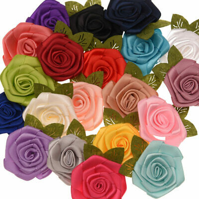 5pc Mixed Satin Rose Leaf Fabric Flowers Embellishments For Hair Clips Craft DIY