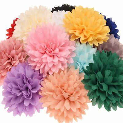 5pc Mixed Large Chiffon Fabric Flowers Embellishments For Hair Clips Craft DIY