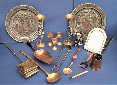 Job Lot Vintage Copper and Brass Collectables Scoop Cider Ladle Warming Pan etc