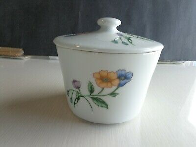 House of Prill Porcelain Serving Bowl w/Lid Poppy Pattern Storage Jar Nice